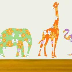 Pretty Floral Elephant Giraffe Flamingo wall decals Nursery Decor