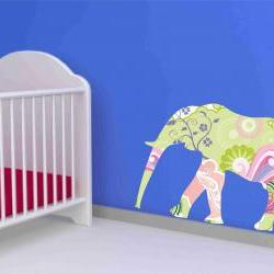 Elephant Wall Decal in Floral Print
