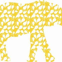 Nursery Decor Yellow Elephant Decals with Paisley Pattern