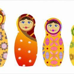 Cute Matryoshka Nesting Dolls Fabric Wall Decals for Children