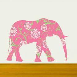 Nursery Walls Pink Elephant Vinyl Decal Sticker