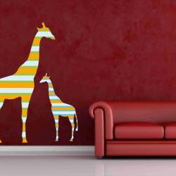 Mother and Baby Giraffe Fabric Wall Decals in colorful stripes